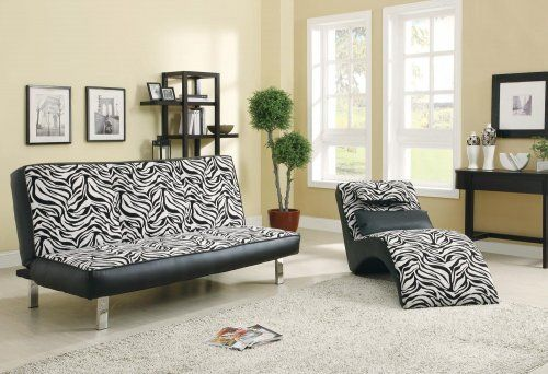 3F7300230PG - Contemporary Zebra Style Chenille Sofa Bed - Furniture2Go