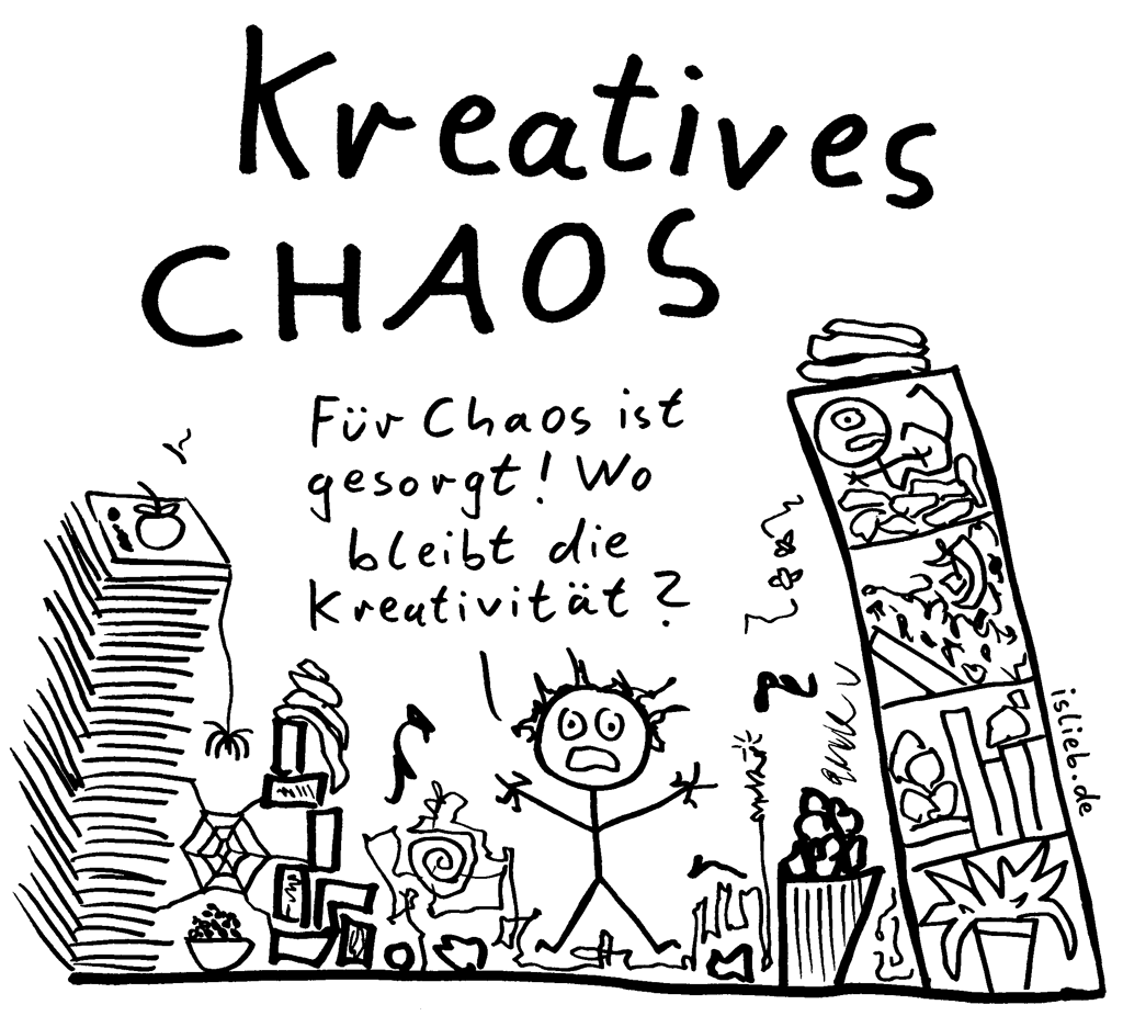 Kreatives Chaos Strichmannchen Cartoon