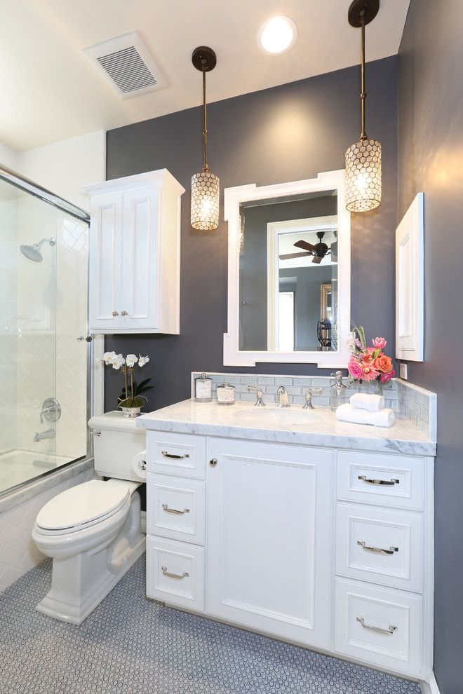 guest bathroom with marble counter gray walls pretty pendants rh pinterest com
