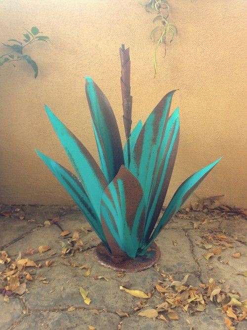 Turquoise Budding Agave,metal art,garden art,yard art ...