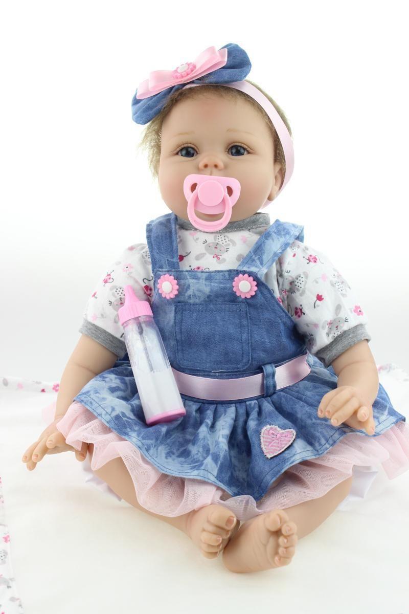 2d289b1fd988b Pas cher Livraison gratuite 22 polegada reborn baby doll réalistes vinyle  souple en silicone réel douce tactile