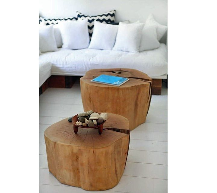 diy two tree trunk coffee table on living room combining with