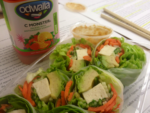 Tofu salad roll with peanut sauce and a strawberry Odwalla.