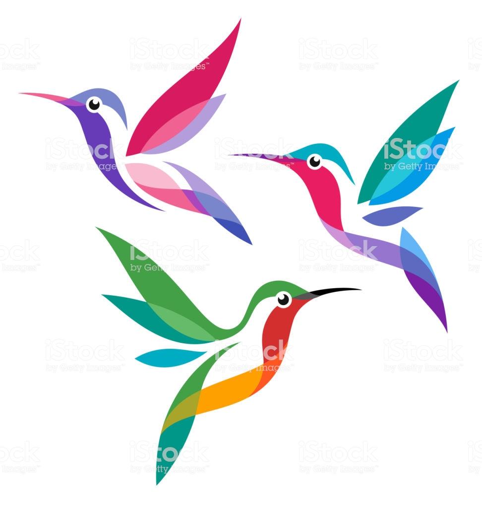 Stylized Birds Hummingbirds In Flight Hummingbird Painting Hummingbird Art Hummingbird Drawing