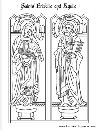 saints priscilla and aquila coloring page july 8th - Father Coloring Page Catholic
