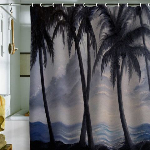 Rosie Brown Sunset Palms Shower Curtain Curtains Cozy Decor