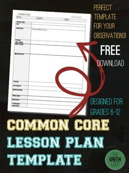 Common Core Lesson Plan Template For Middle And High School  High