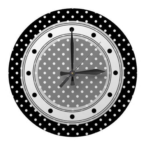 Wall Clock Black nad White Polka Dot   http://www.zazzle.com/wall_clock_black_nad_white_polka_dot-256027656297858492