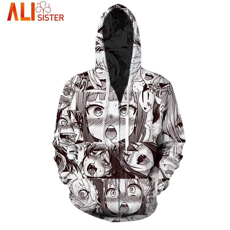Funny Ahegao Zipper Hoodies Jacket Alisister Men's Hoody Sweatshirt Plus  Size 2017 Autumn Winter Pullover Tops