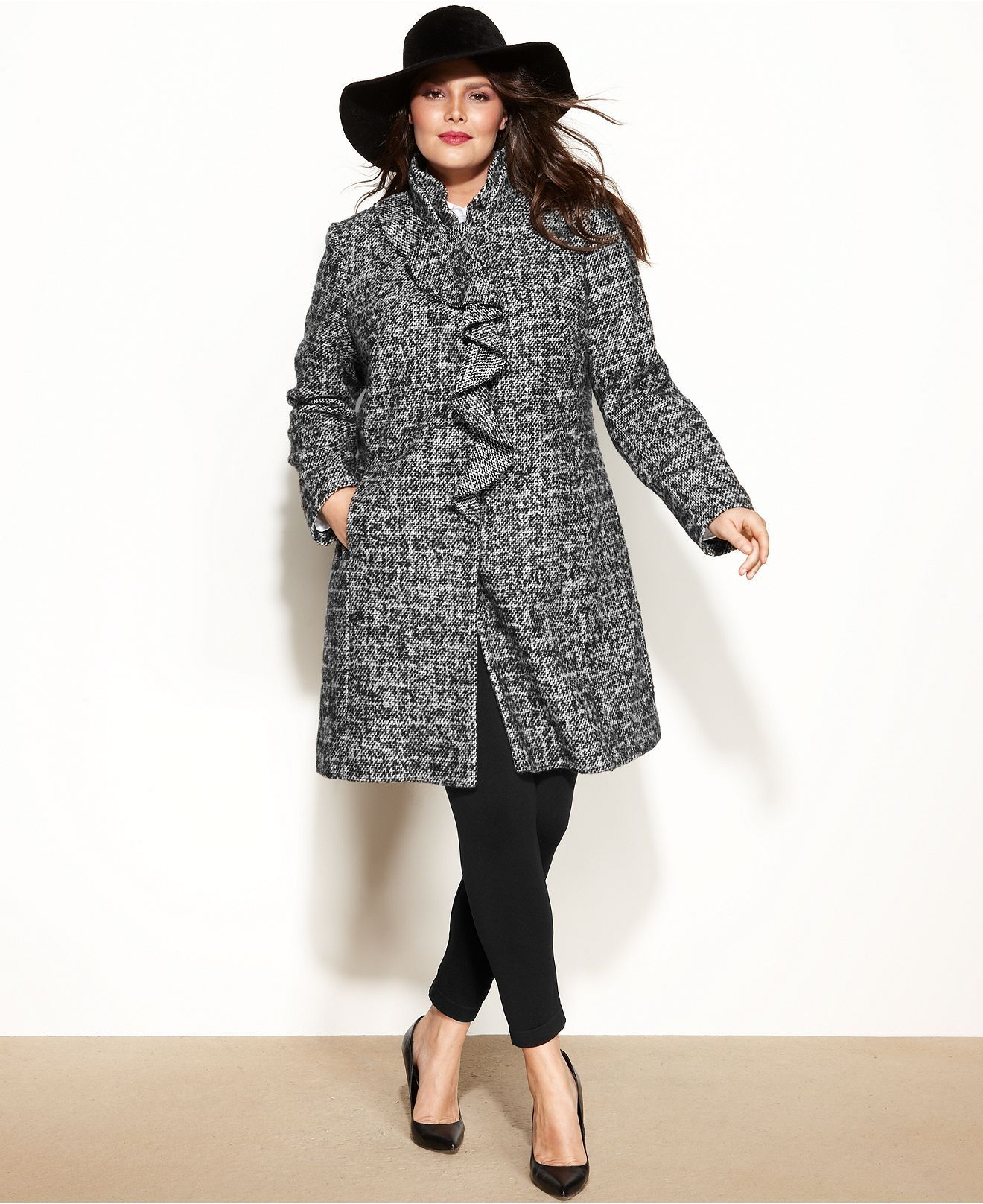 Dkny Plus Size Ruffle Front Walker Coat Coats Women Macy S Plus Size Coats Plus Size Fashion Dresses Plus Size [ 1616 x 1320 Pixel ]
