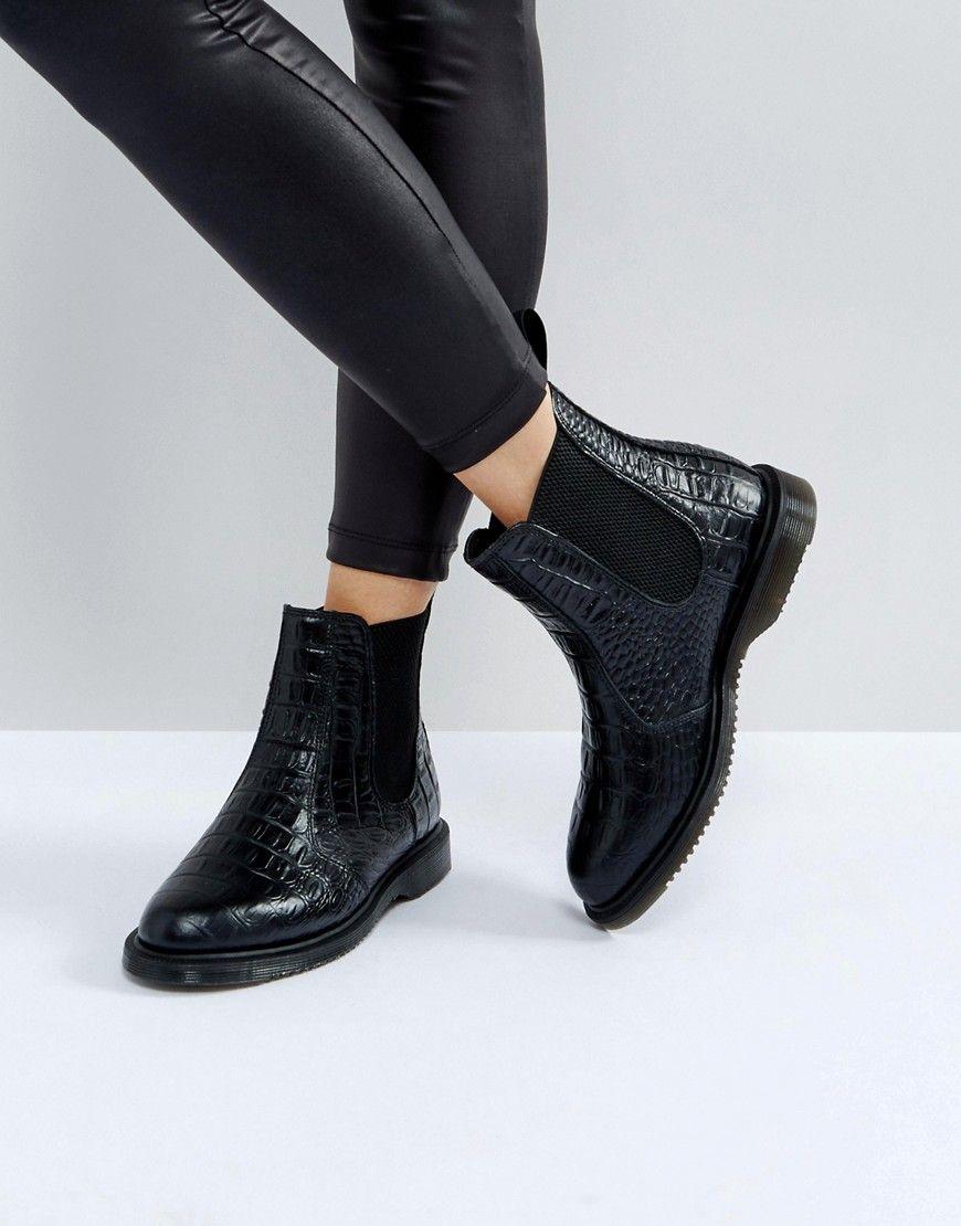 bad79c44120c3 Dr Martens Kensington Flora Black Croco Chelsea Boots