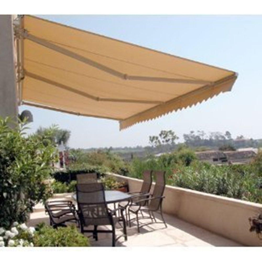 Aleko 12 Ft Manual Patio Retractable Awning 120 In Projection In Sand Aw12x10sand31 Hd The Home Depot In 2020 Backyard Pergola Pergola Shade Pergola Patio