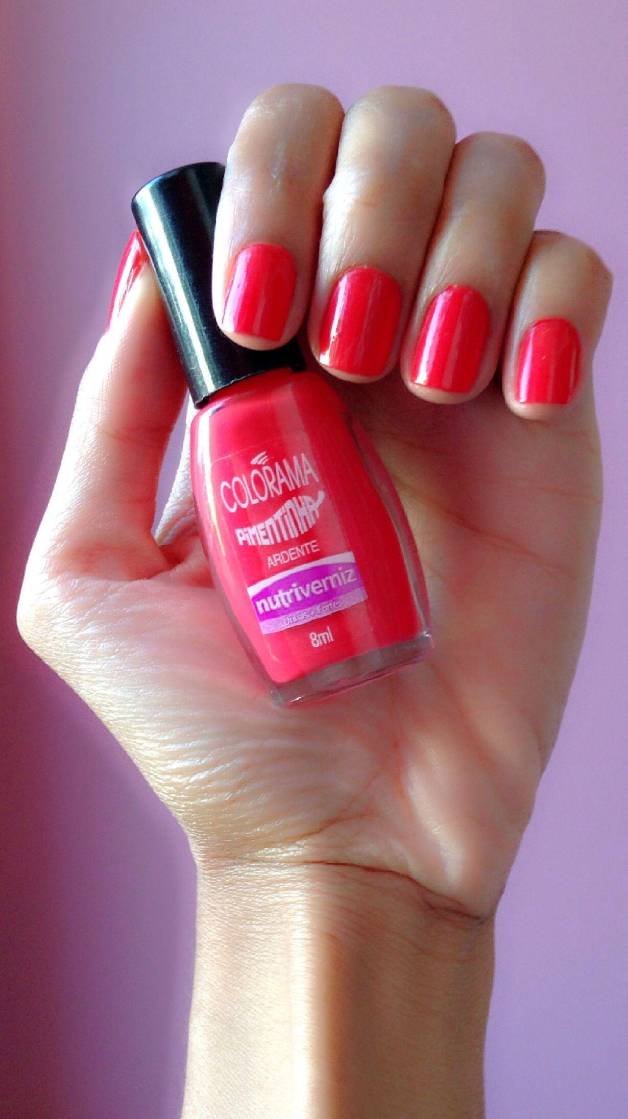 #nails #polish #manicure #unhas #esmalte #colorama #pimentinha #ardente #red #vermelho