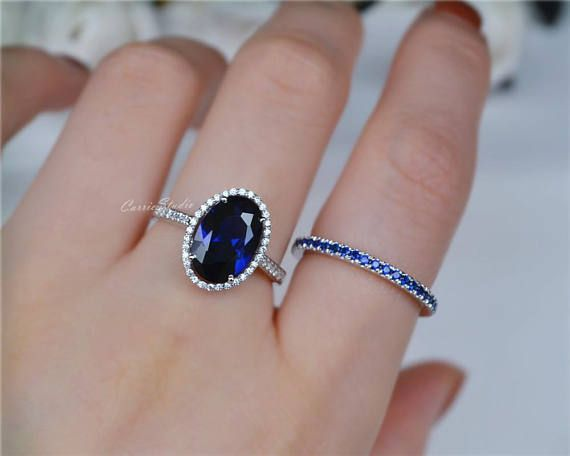 Oval Sapphire Ring Sapphire Engagement Ring 925 Sterling Etsy Engagement Rings Sapphire Oval Sapphire Ring Sterling Silver Rings Set