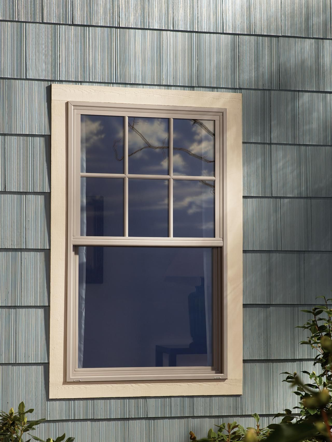 Beige Window And Gray Siding House Paint Exterior Windows Exterior Window Grids