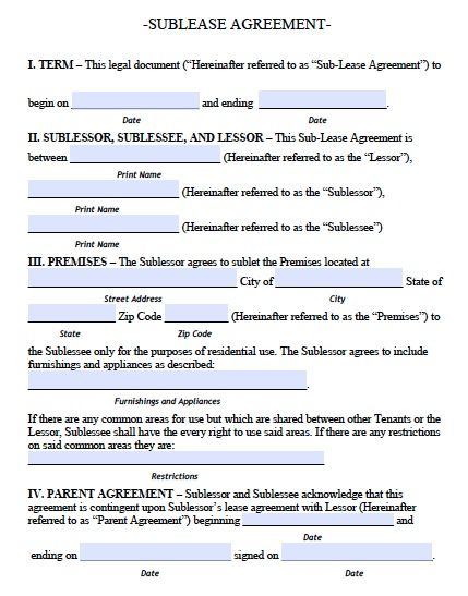 Printable Sample Roommate Agreement Template Form Real