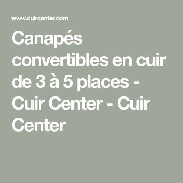Canapes Convertibles En Cuir De 3 A 5 Places Cuir Center Cuir Center En 2020 Canape Convertible Cuir Cuir Center Canape Convertible