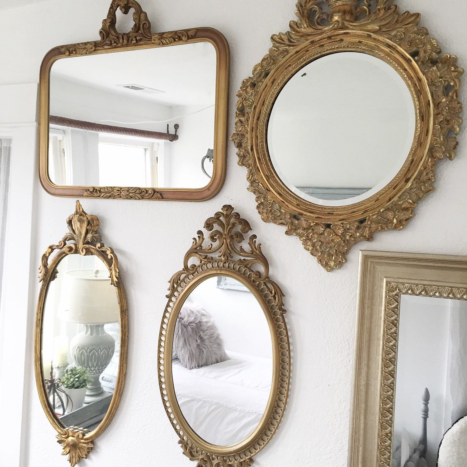 fc1e90df3c42e Vintage gold mirror gallery wall