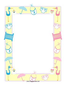 this baby shower border features a yellow frame overlaid with pink and blue versions of items