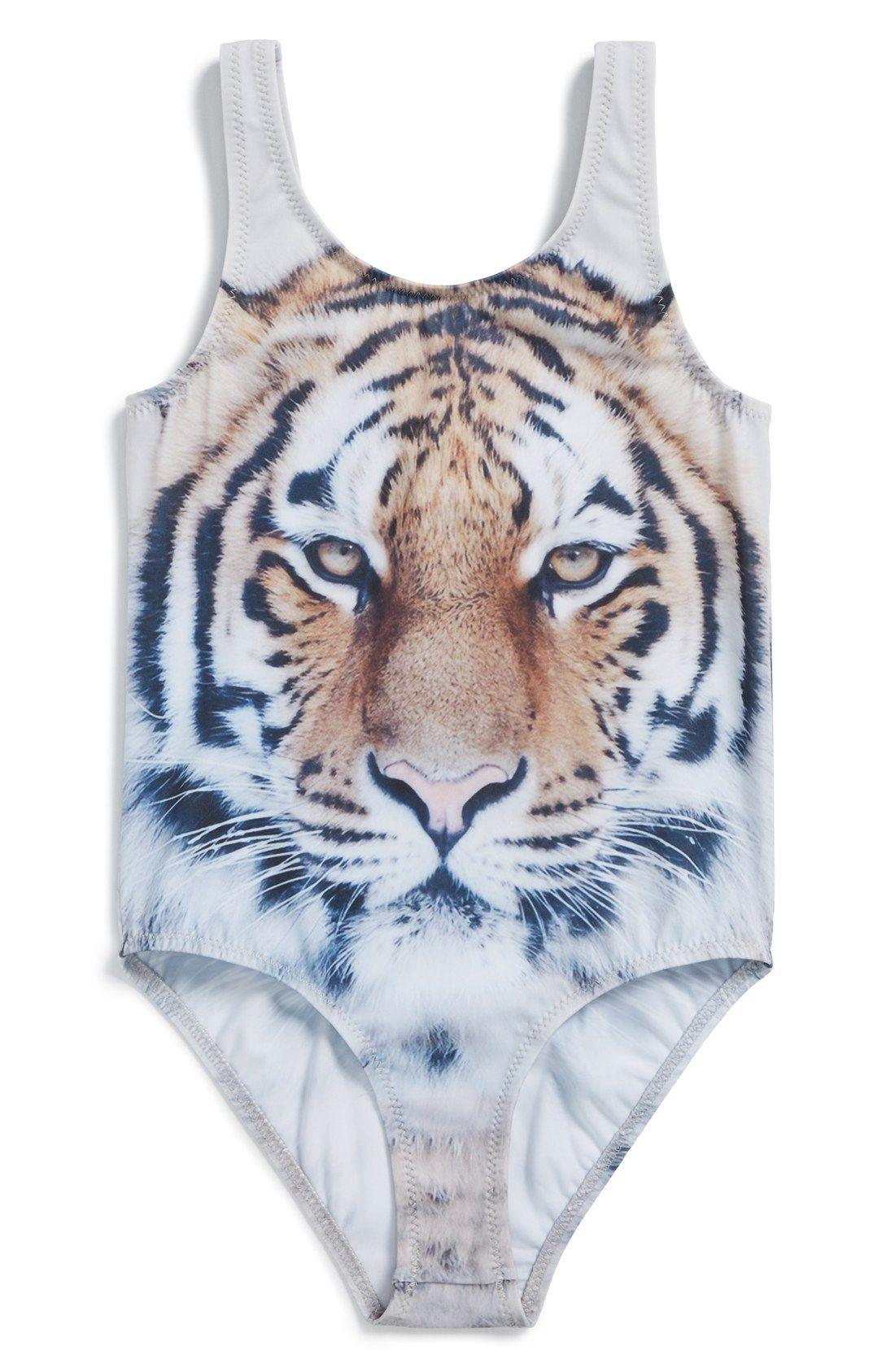 2d49235c8e830 PopUpShop Tiger Print One-Piece Swimsuit (Toddler Girls & Little Girls)    Nordstrom
