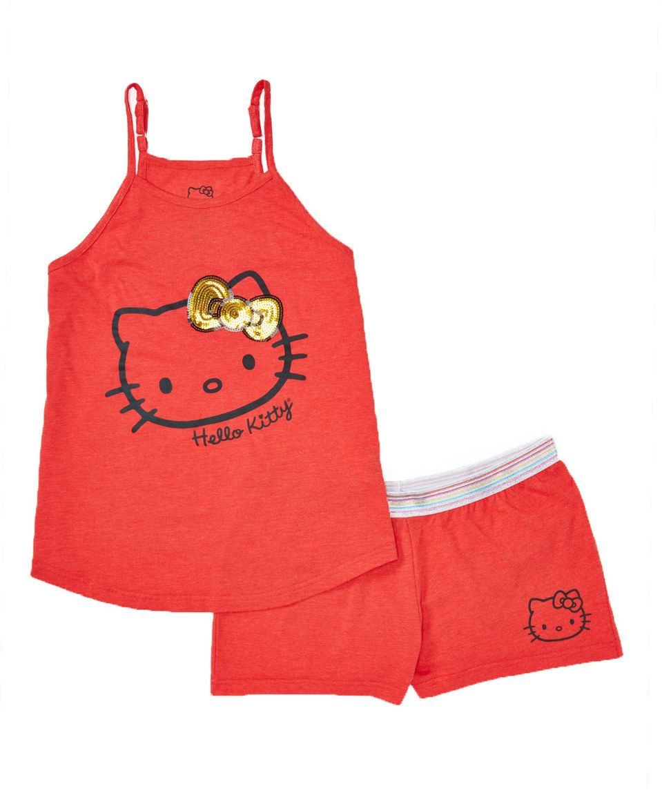 Love this Red & Gold Sequin 'Hello Kitty' Short Set - Women by Hello Kitty on #zulily! #zulilyfinds
