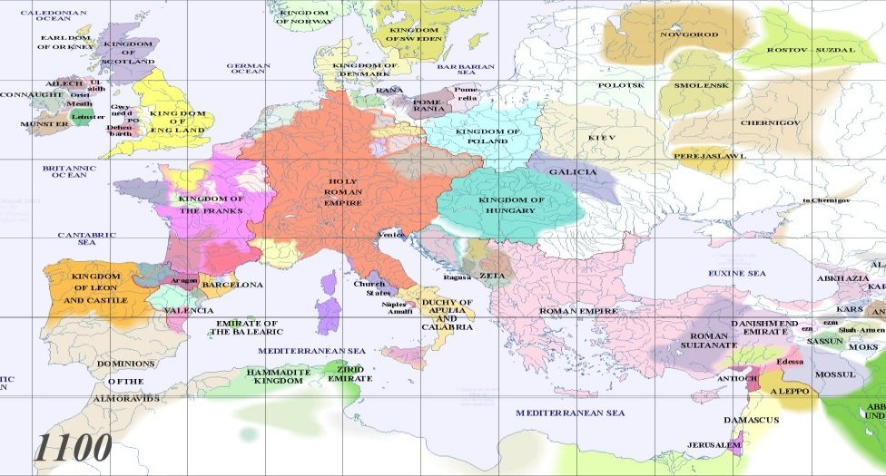 europe in 1100 full map of europe ad 1100 periodical historical atlas 1 to 1000 1100