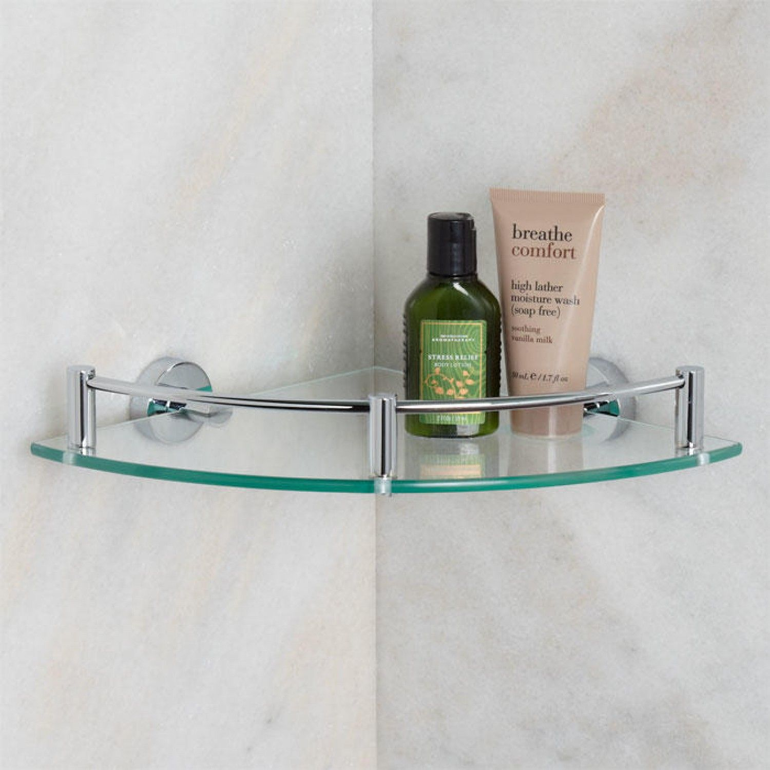 bristow tempered glass corner shelf bathroom - Bathroom Accessories Glass Shelf