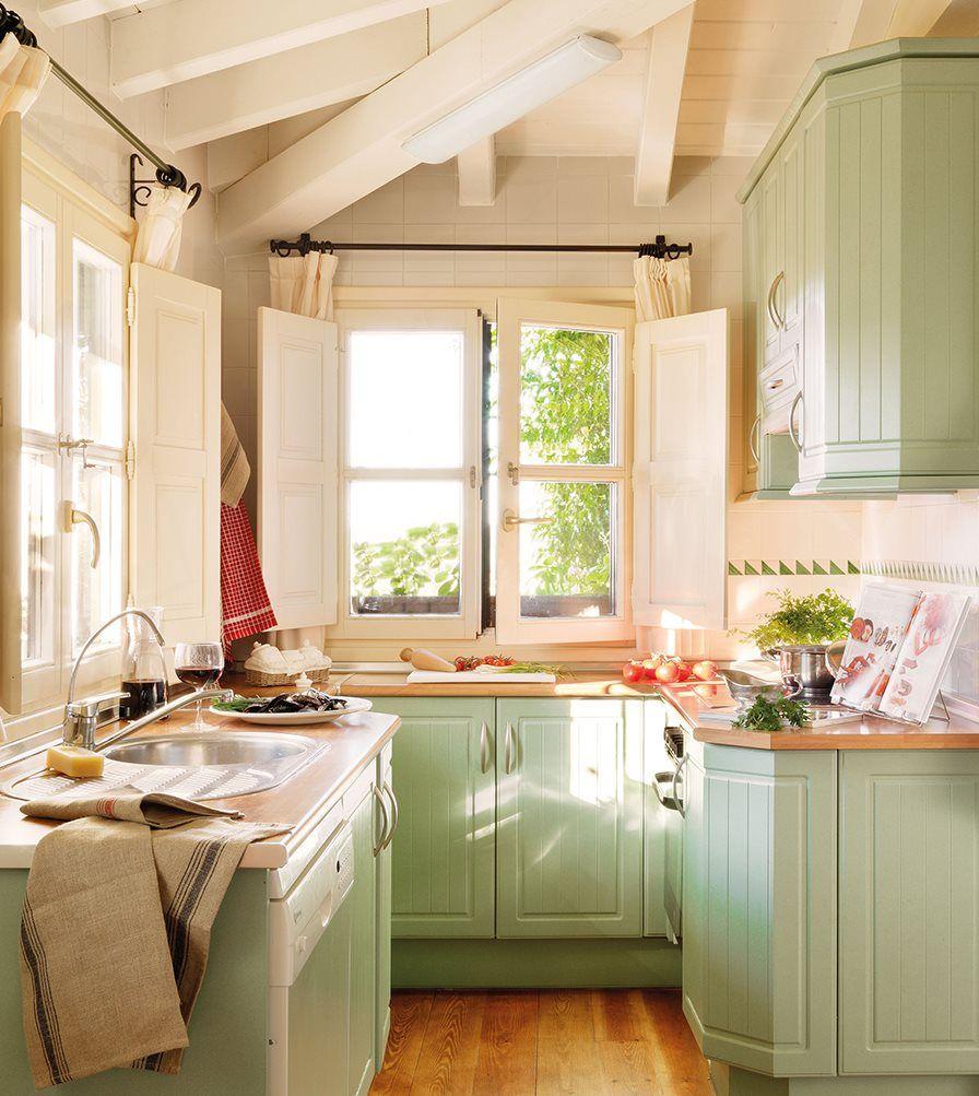 cocina r stica con muebles en verde agua decoracion y