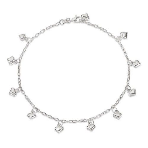10 Inch Puffed Hearts Anklet In 925 Sterling Silver