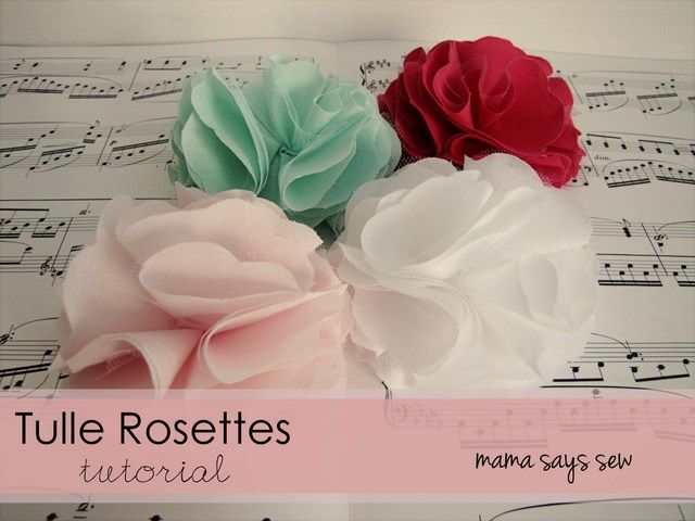 mama says sew: Tulle Rosettes --- I made one this morning.  It was really simple and turned out so cute!  I love that she has patterns for three different sizes.