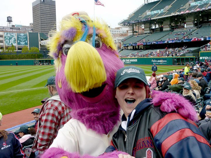 A a great picture with slider – the Indians purple monster mascot!