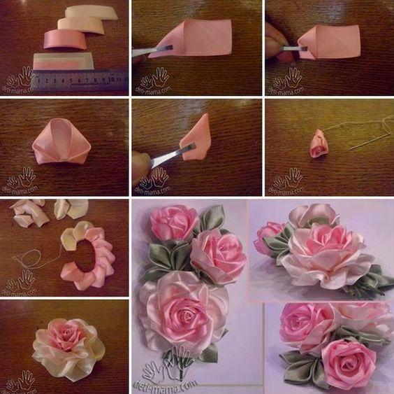 Artesanato Bordado Com Fita De Cetim Flores Artesanato Flores