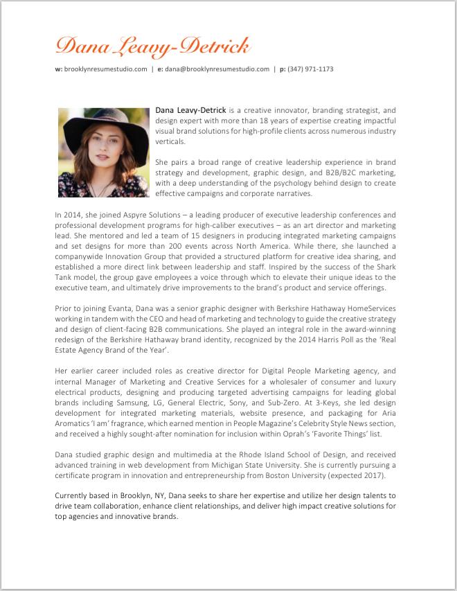 Professional Bio Sample - Brooklyn Resume Studio-Preview | sam ...