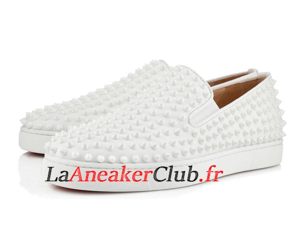 c728c344a1a8a Christian Louboutin Roller-Boat Calf Gros Grain Chaussures Officiel Pas  Cher Pour Homme Blanc