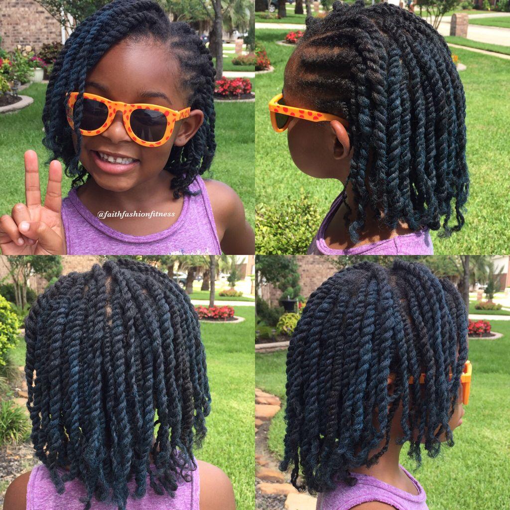 Two Strand Twist With Blue Hair Spray Kids Hairstyles Girls Twist Hairstyle Kids Black Kids Hairstyles