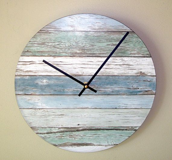 Silent Wood Image Wall Clock 10 Or 12 Inch Beachy Blue And Green Wall Clock Unique Wall Clock Not Real Wood 224 Wandklok Klok Geschulpte Rand