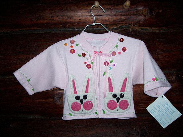 pink, bunny pocket fleece jacket | by cottontailquilts