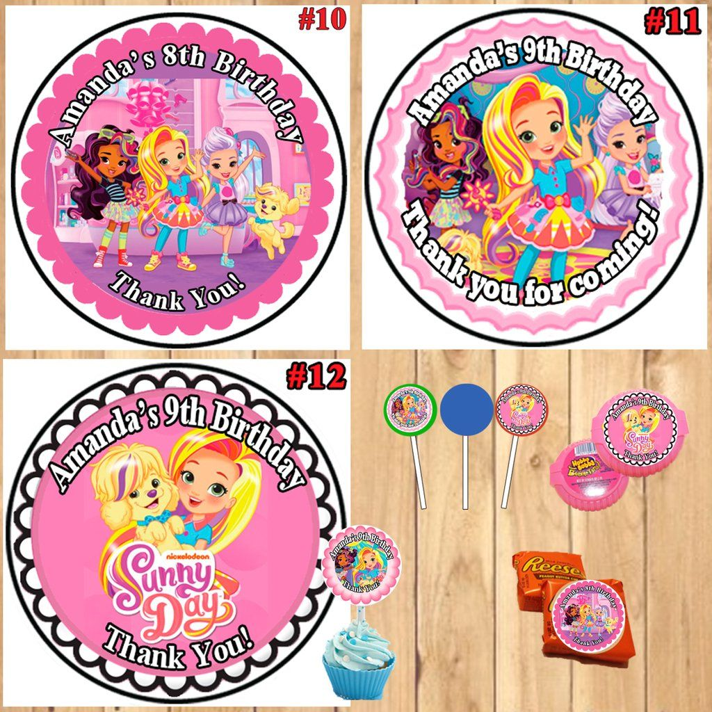 12 Disney Princess Personalized round birthday party stickers,favors,thank you