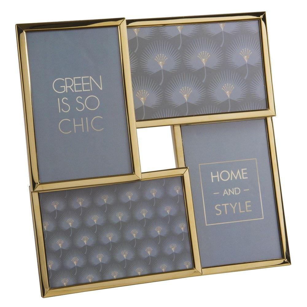 Rahmen für 4 Fotos aus goldfarbenem Metall 25x25 Jetzt bestellen ...