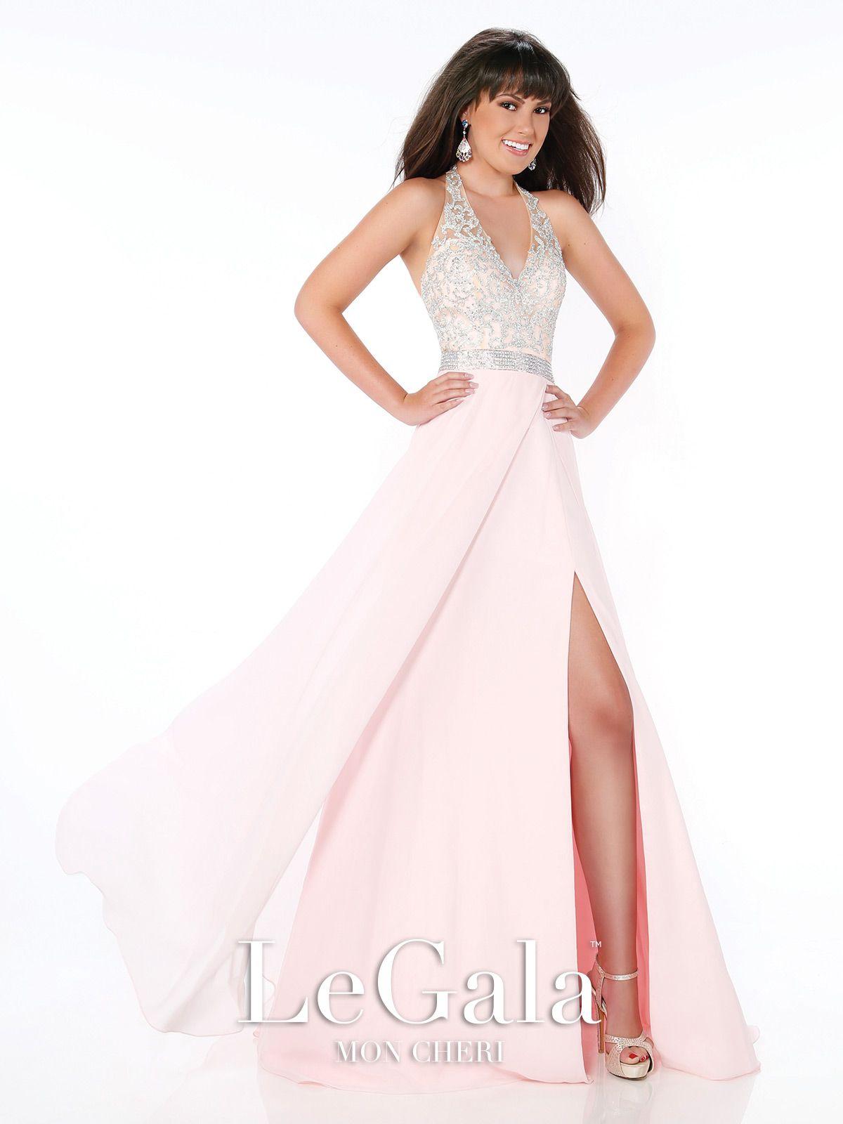 Vneck halter chiffom prom dress mon cheri prom