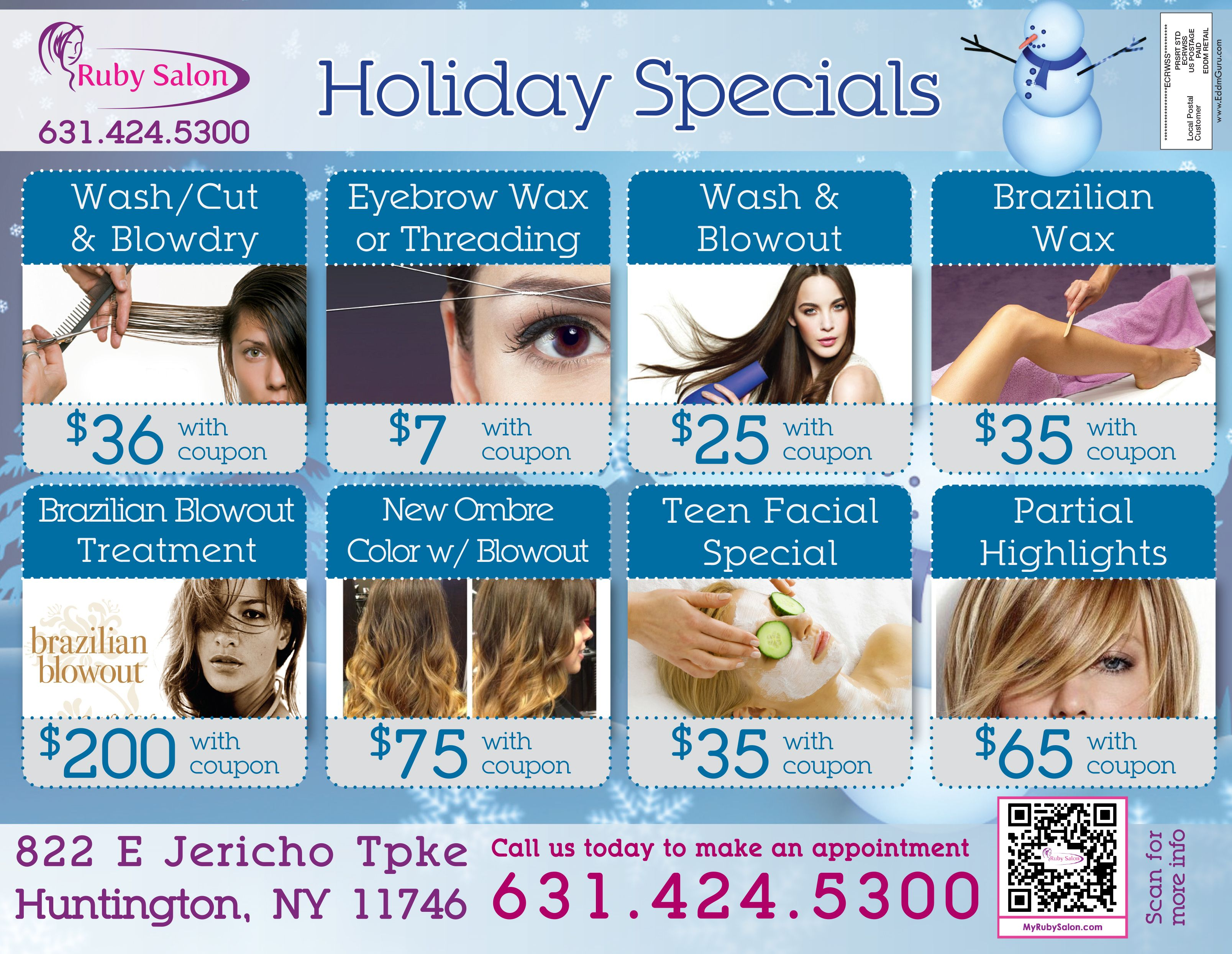Ruby Salon Offer Holiday Specials Christmas New Year Deals Coupons Hair Salons Deals Haircuts Threadin Salon Promotions Hair And Beauty Salon Wax Hair Removal