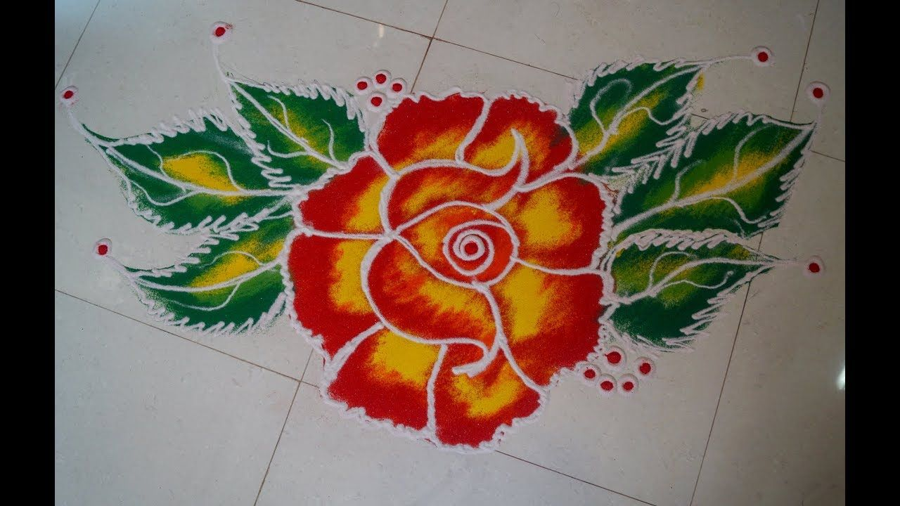 Very Simple And Easy Rose Flower Rangoli Easy Rangoli Designs Flower Rangoli Rangoli Designs Diwali Rangoli Designs