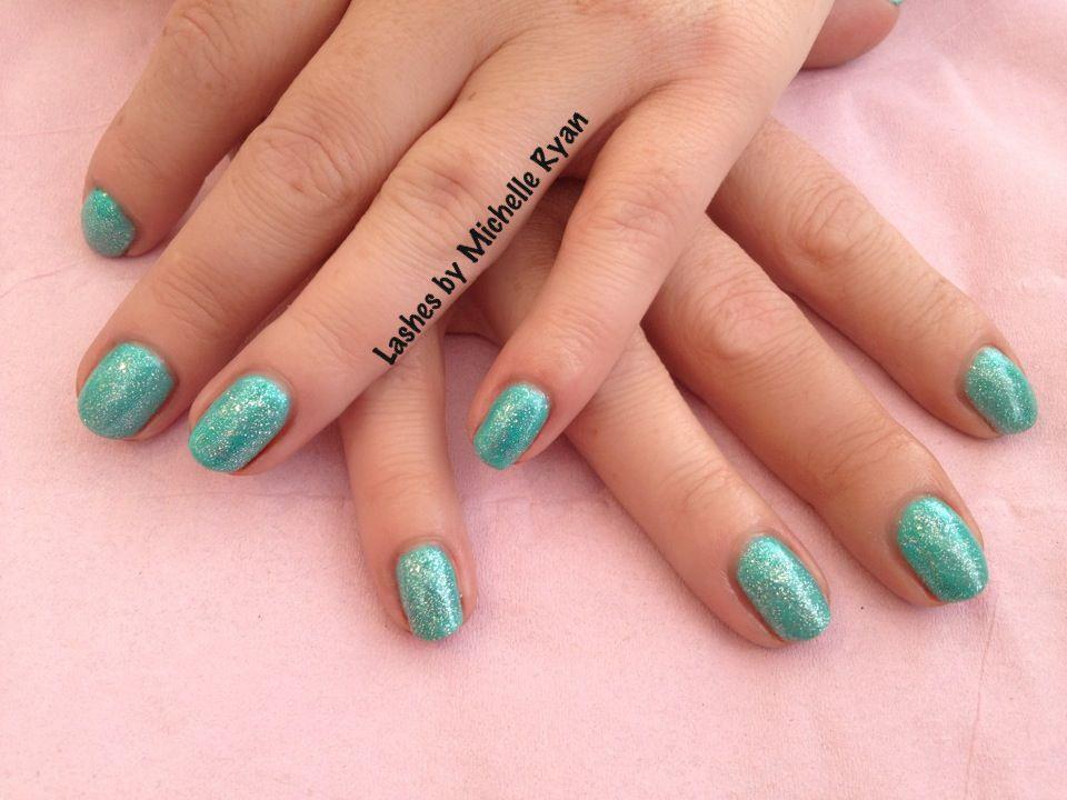 Gorgeous gellux nails in Jades A Gem with Silver sparkles #gellux ...