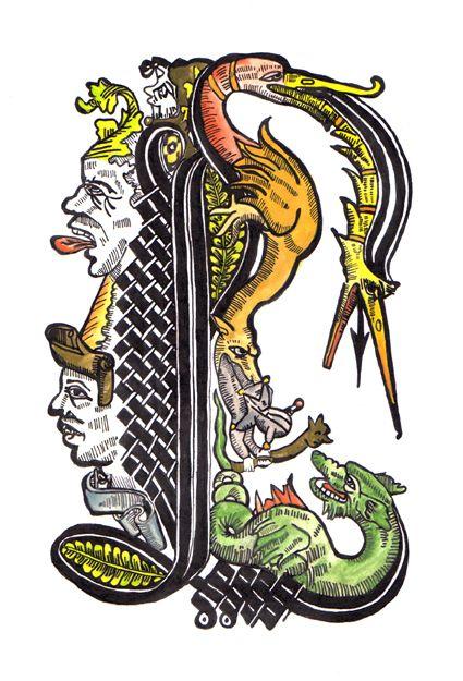 Lettrine l illustration ideas lettrine lettre a dessin couleur - Dessiner l alphabet ...