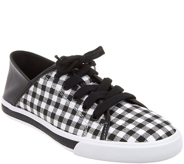Isaac Mizrahi Live! Lace-Up Gingham Sneakers buy cheap excellent cheap price in China L0yU59mv