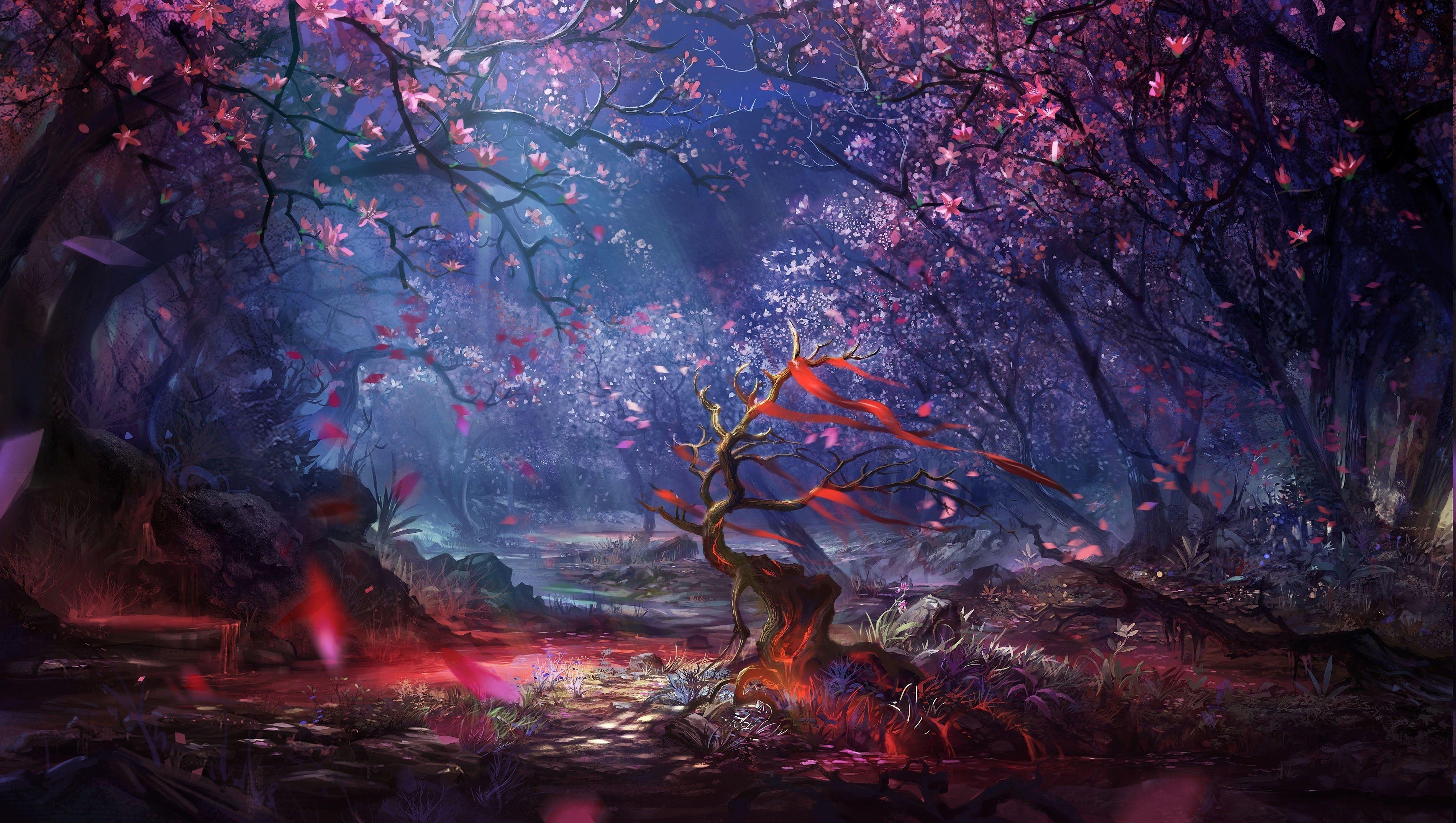 Digital Art Forest Trees Colorful Fantasy Art Artwork Landscape Wallpaper Landscape Wallpaper Forest Art Fantasy Forest