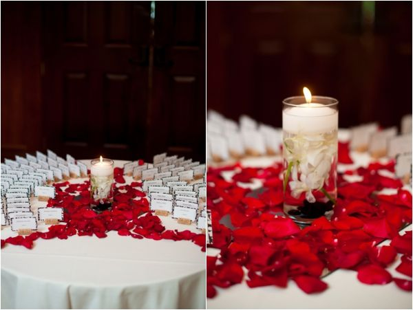Escort cards rose petals and candle table decor red for Red decoration for wedding