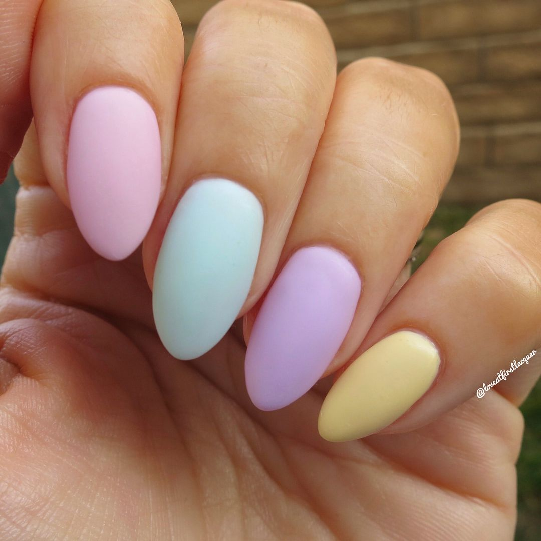 Beautiful Pastel Pink Blue Lavender And Yellow Nails Matte Top Coat Is Perfect For Easter Or Spring Nails Nails 20 Yellow Nails Lavender Nails Pink Nails