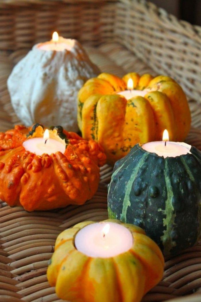 selber-basteln-winter-Dekoration-dekorative-Kerzen-Kürbisse - herbst deko ideen fur ihr zuhause