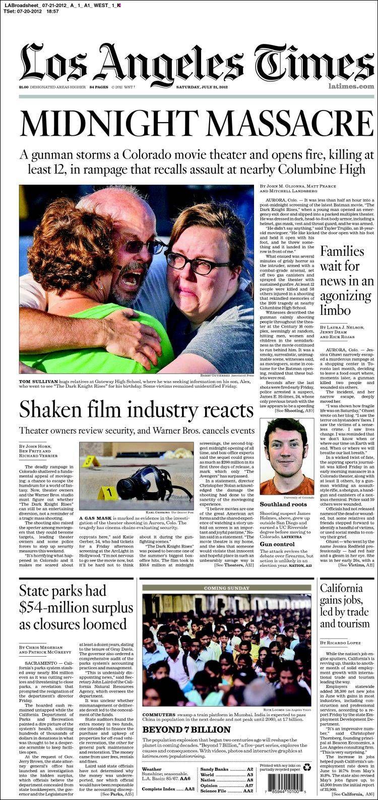 Así informan los diarios estadounidenses del tiroteo en el estreno de 'Batman' | Clases de Periodismo